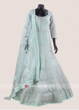 Net Heavy Floor Length Gown with Dupatta