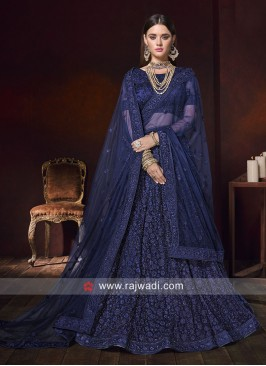 Net Heavy Lehenga Choli in Blue