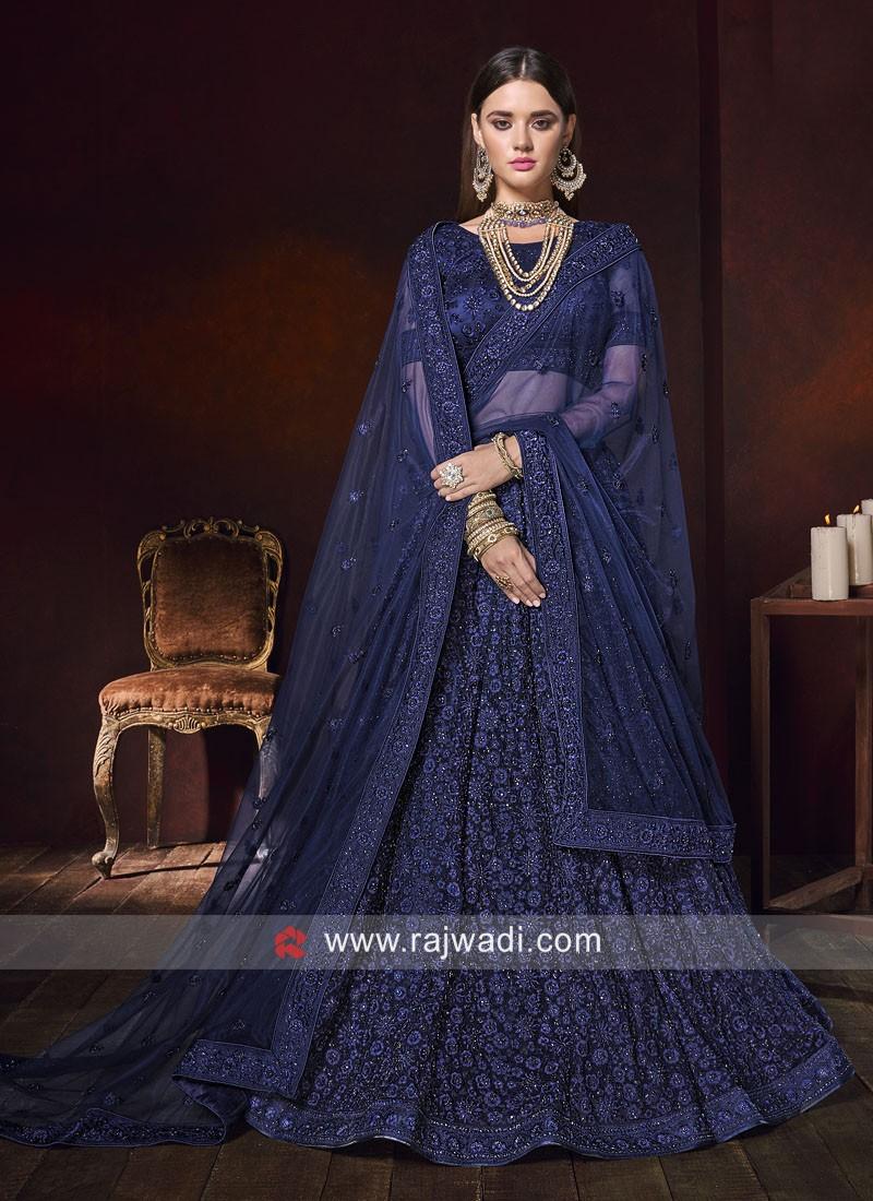 Net Heavy Lehenga Choli in Blue