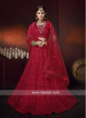 Net Heavy Lehenga Choli in Red