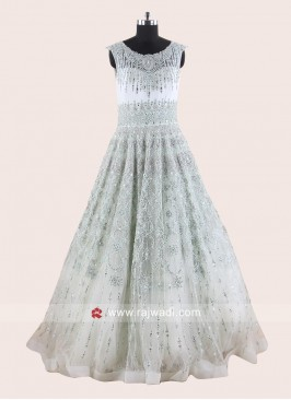 Net Heavy Wedding Gown in Light Pista Green