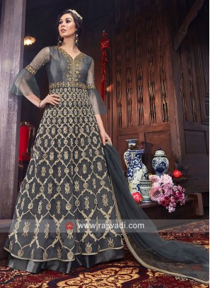 Net Heavy Wedding Unstitched Suit in Grey