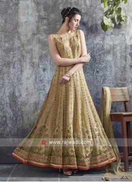 Net Heavy Work Floor Length Gown