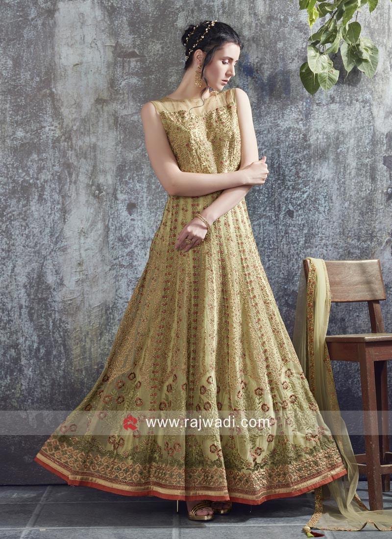 Net Heavy Work Floor Length Gown