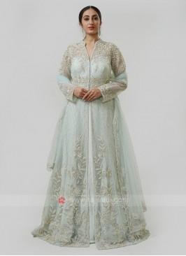 Net Indo Western gown In Pista Green
