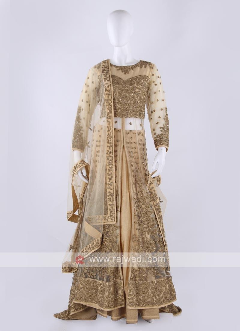Net Indowestern Lehenga choli in golden color