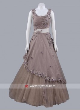 Net Layered Gown with Flower Work