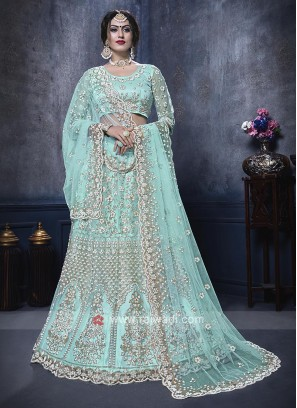 Net Lehenga Choli In Aqua Color