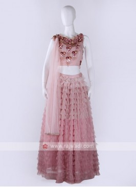 Net Lehenga Choli In Light Pink Color