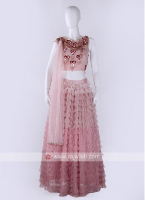 Net Lehenga Choli In Light Pink Color