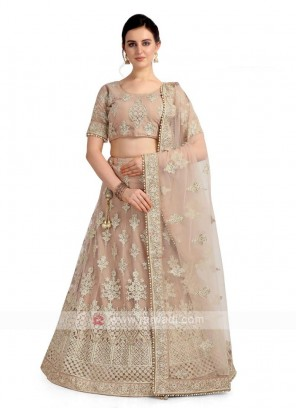 Net Lehenga Choli In Beige Color