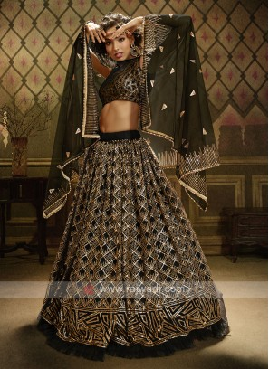 Net Lehenga Choli In Black