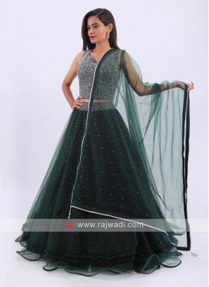 Net Lehenga Choli In Bottle Green