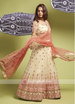 Net Lehenga Choli In Cream
