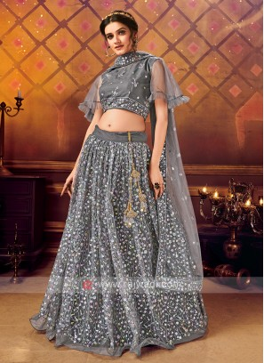 Net Lehenga Choli In Dark Grey