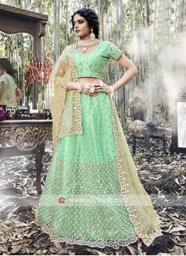 Net Lehenga Choli In Green