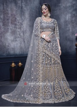 Net Lehenga Choli In Grey Color