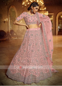 Net Lehenga Choli In Light Pink