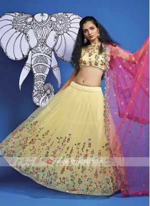 Net Lehenga Choli In Light Yellow
