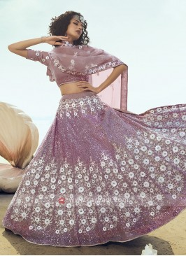 Net Lehenga Choli In Lilac