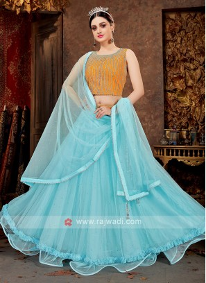 Net Lehenga Choli In Sky Blue And Mustard Yellow