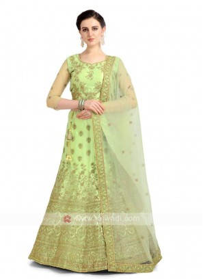 Net Lehenga Choli In Parrot Green