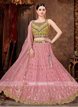 Net Lehenga Choli In Parrot Green & Light Pink