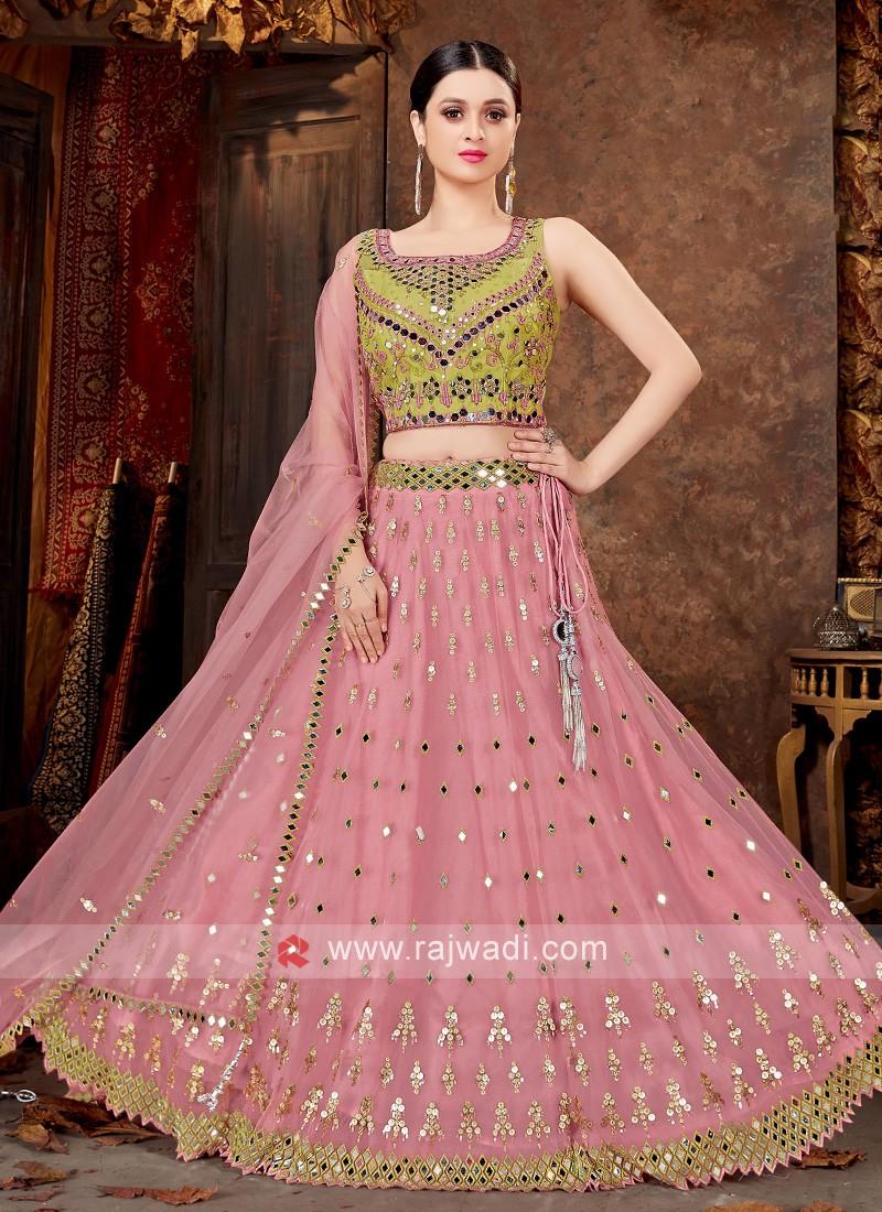 Net Lehenga Choli In Parrot Green & Light Pink