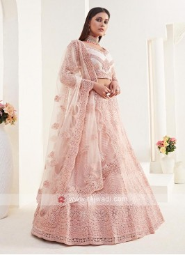 Net Lehenga Choli In Peach