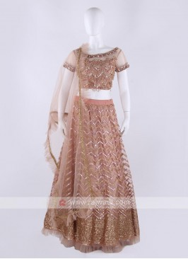 Net Lehenga Choli In Peach Color