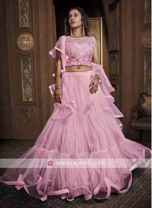 Net Lehenga Choli In Pink