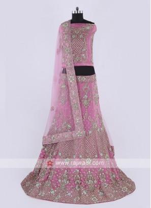 Net Lehenga Choli In Pink Color