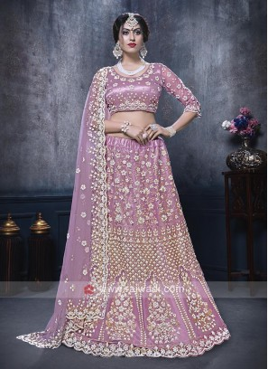 Net Lehenga Choli In Lilac Color
