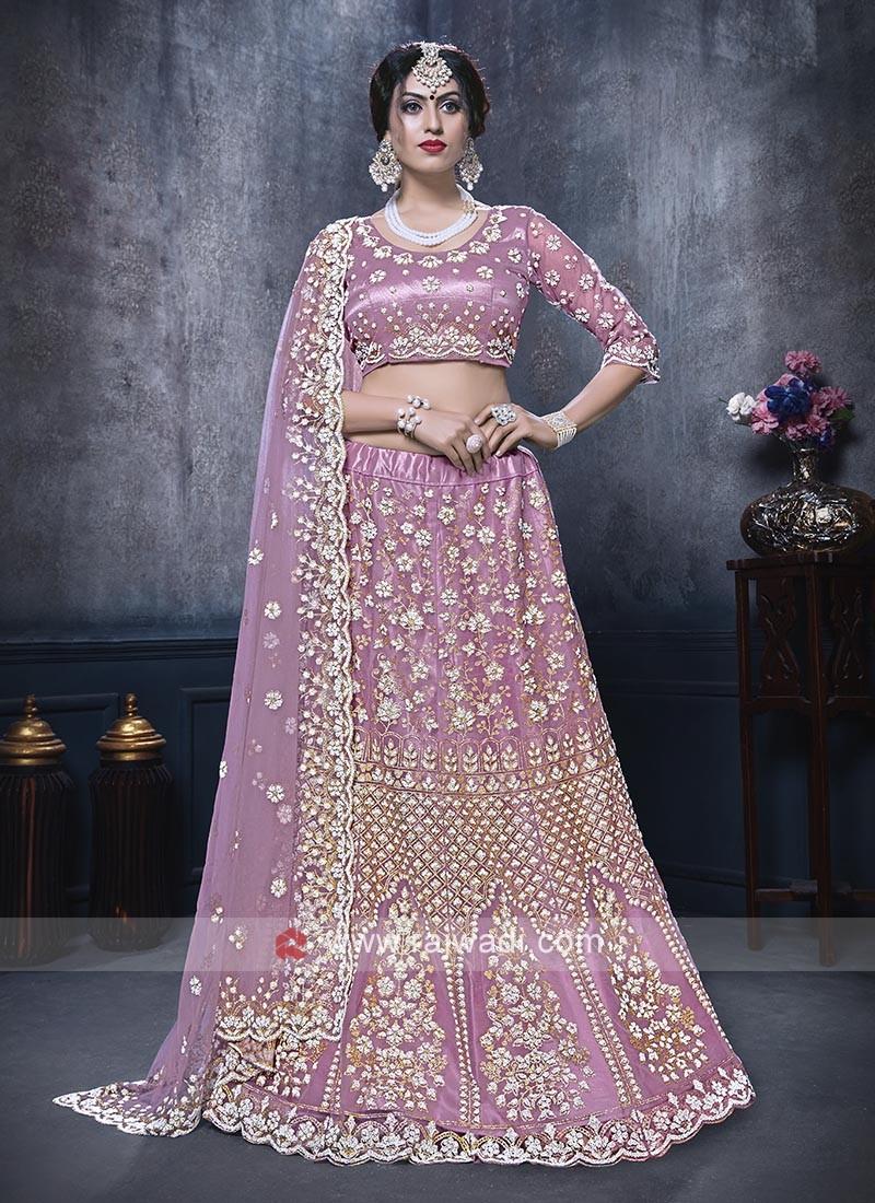 Net Lehenga Choli In Lilac Color