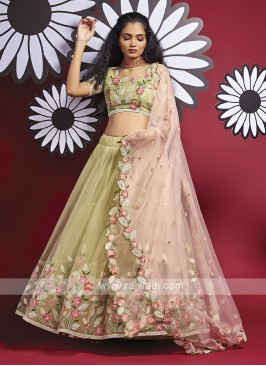 Net Lehenga Choli In Pista Green
