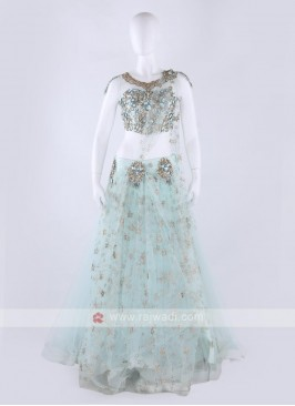 Net Lehenga Choli In Sky Blue