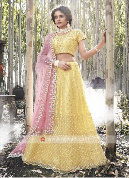 Net Lehenga Choli In Yellow
