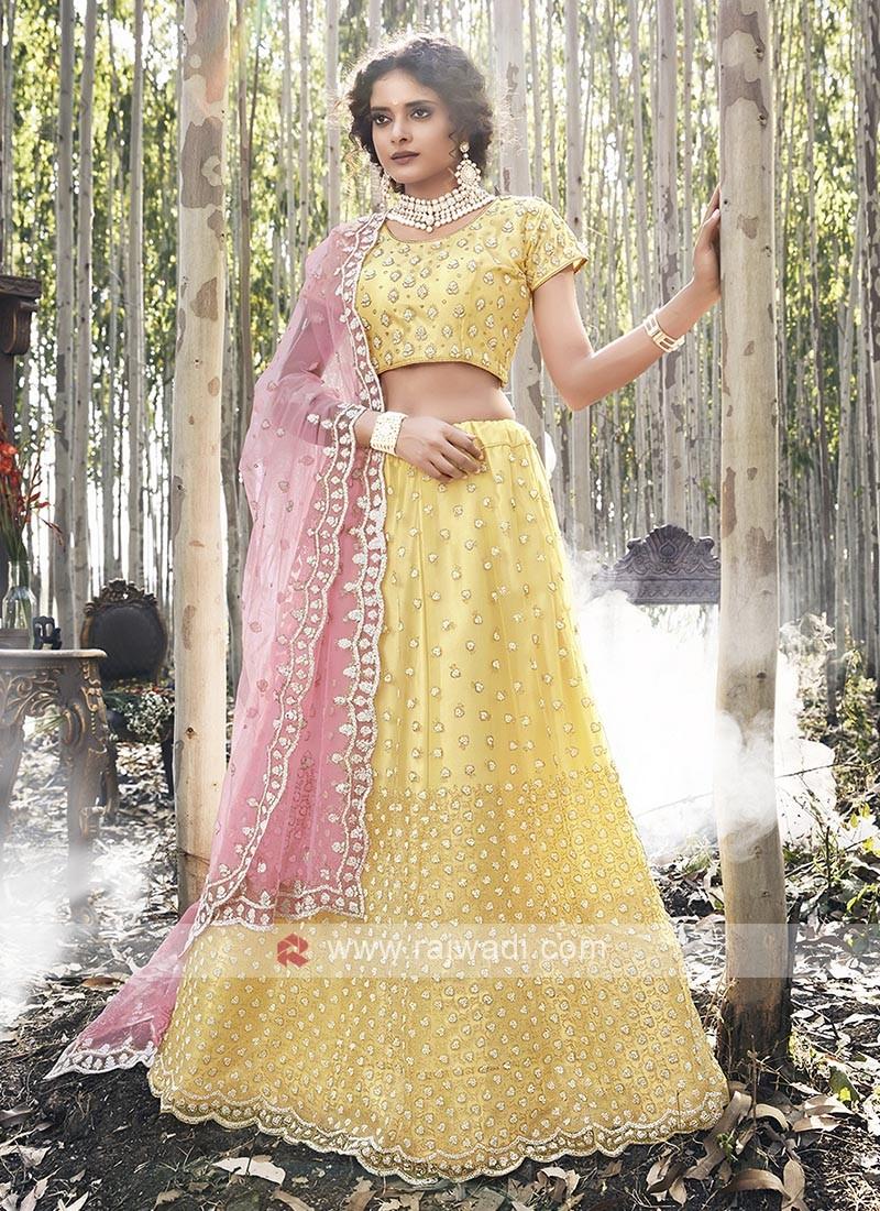Net Lehenga Choli In Yellow