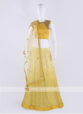Net Lehenga Choli In Yellow Color