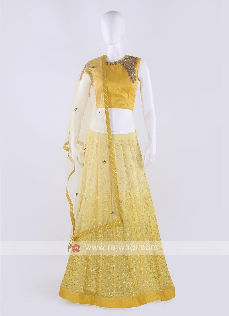 Net Lehenga Choli In Yellow Color