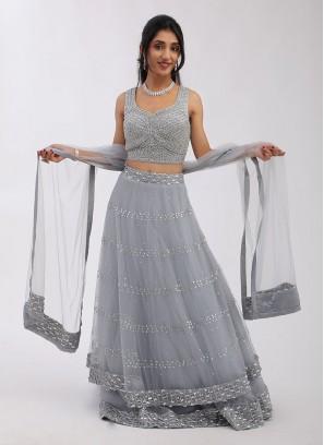 Net Lehenga Choli With Sequins Work