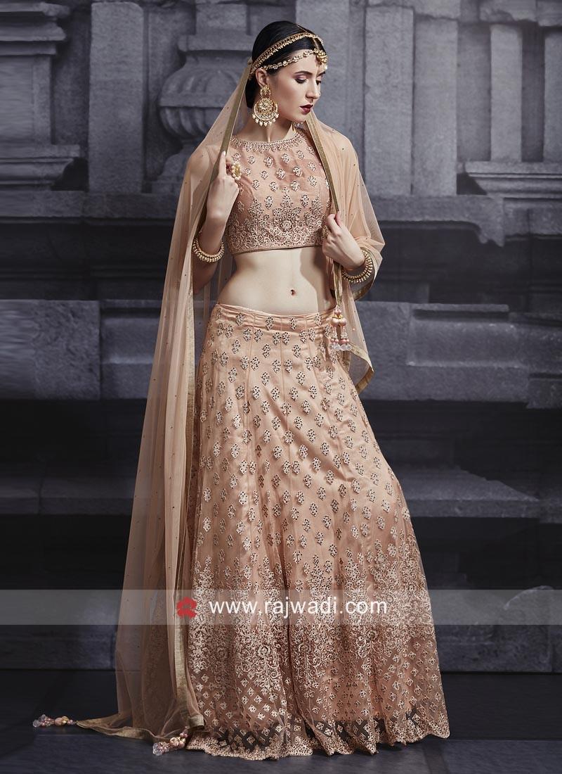 Net Choli Suit in Peach
