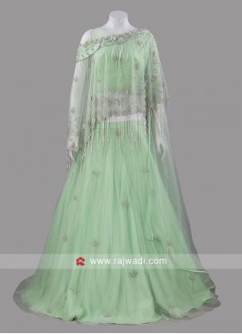 Net Light Green Lehenga Choli