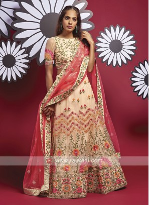 Net Light Peach Lehenga Choli