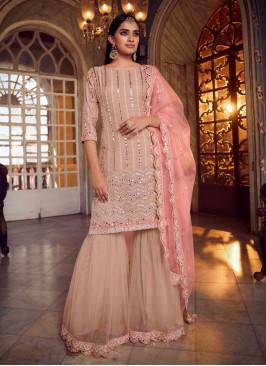 Net Mirror Designer Pakistani Suit in Peach