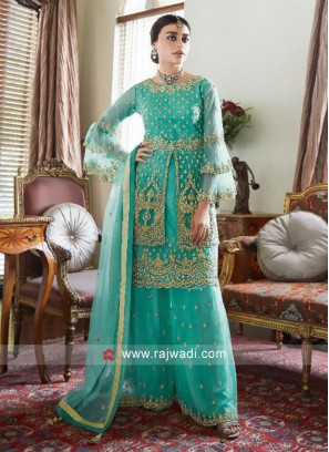 Net Multi Layer Palazzo Suit with Dupatta