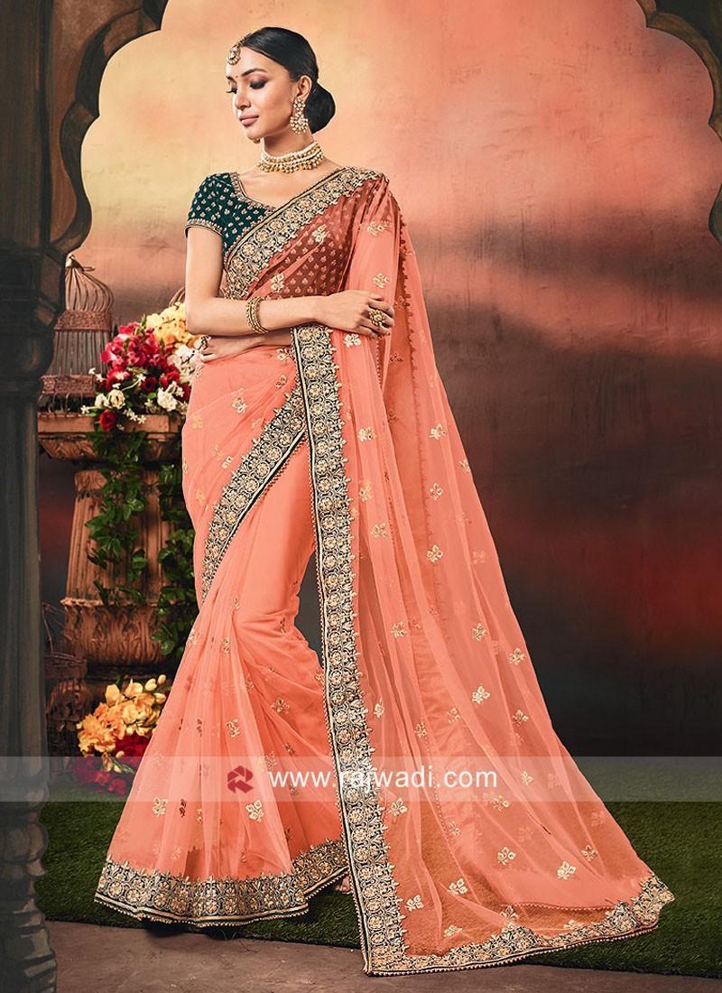Net Orange Saree with Velvet Blouse