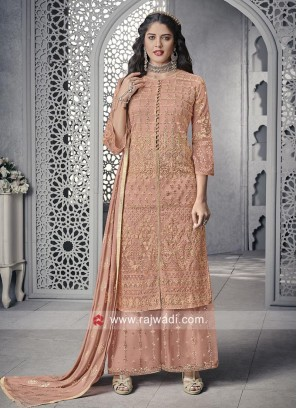 Net Palazzo Suit In Peach