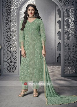 Net Party Wear Suit With Chiffon Dupatta