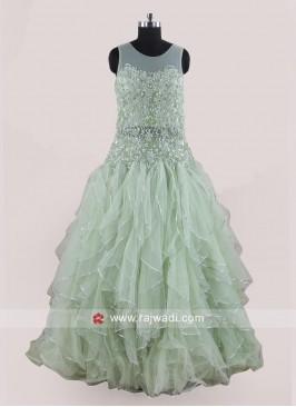 Net Pista Green Handkerchief Flare Gown